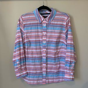 Talbots Cotton Striped Button Front Shirt
